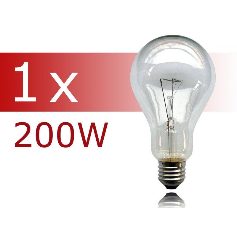 1 x gl hbirne 200w e27 klar gl hlampe 200 watt gl hbir. Black Bedroom Furniture Sets. Home Design Ideas