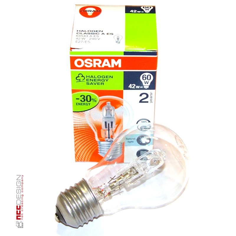 1 x osram halogen eco gl hbirne 42w 60w e27 gl hlampe klar 64543 1. Black Bedroom Furniture Sets. Home Design Ideas