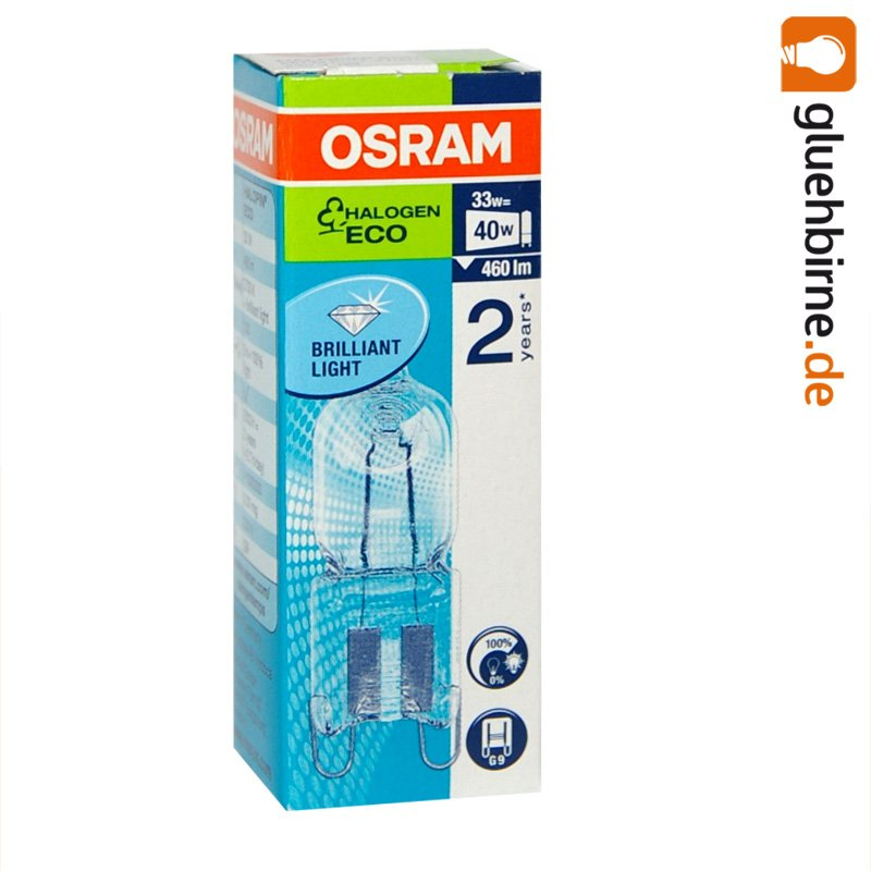 1 x osram g9 eco halogen stiftsockellampe 230v 33w 40w halogenlampe. Black Bedroom Furniture Sets. Home Design Ideas
