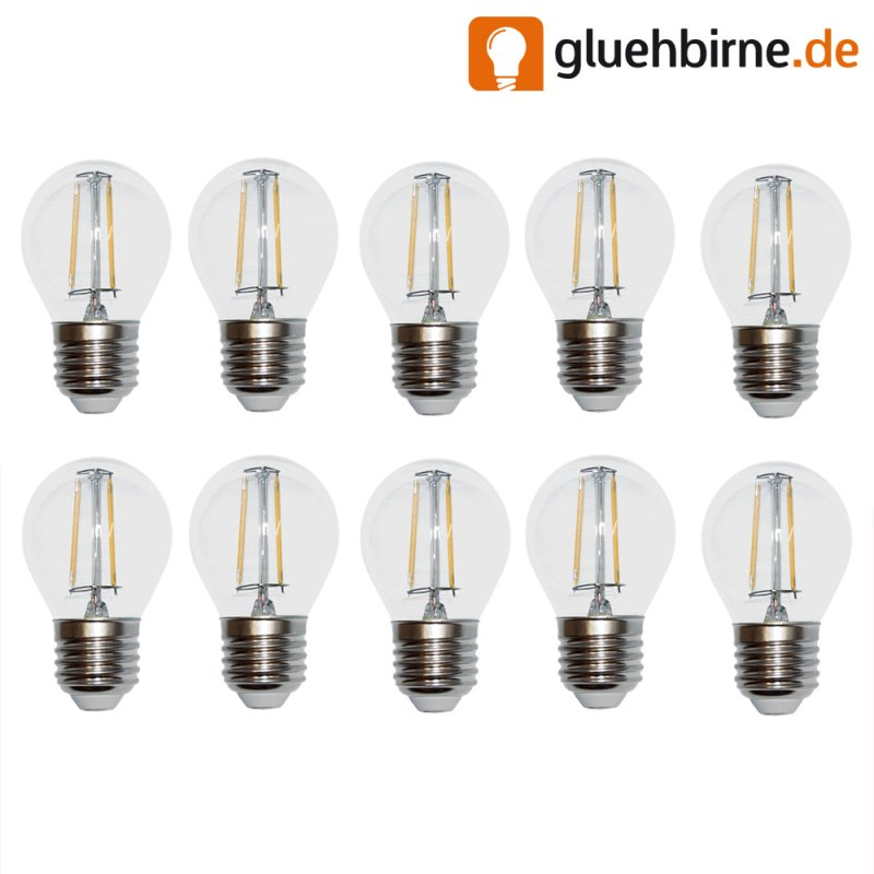 10 x led filament tropfen gl hbirne 4w fast wie 40w e27 klar gl. Black Bedroom Furniture Sets. Home Design Ideas