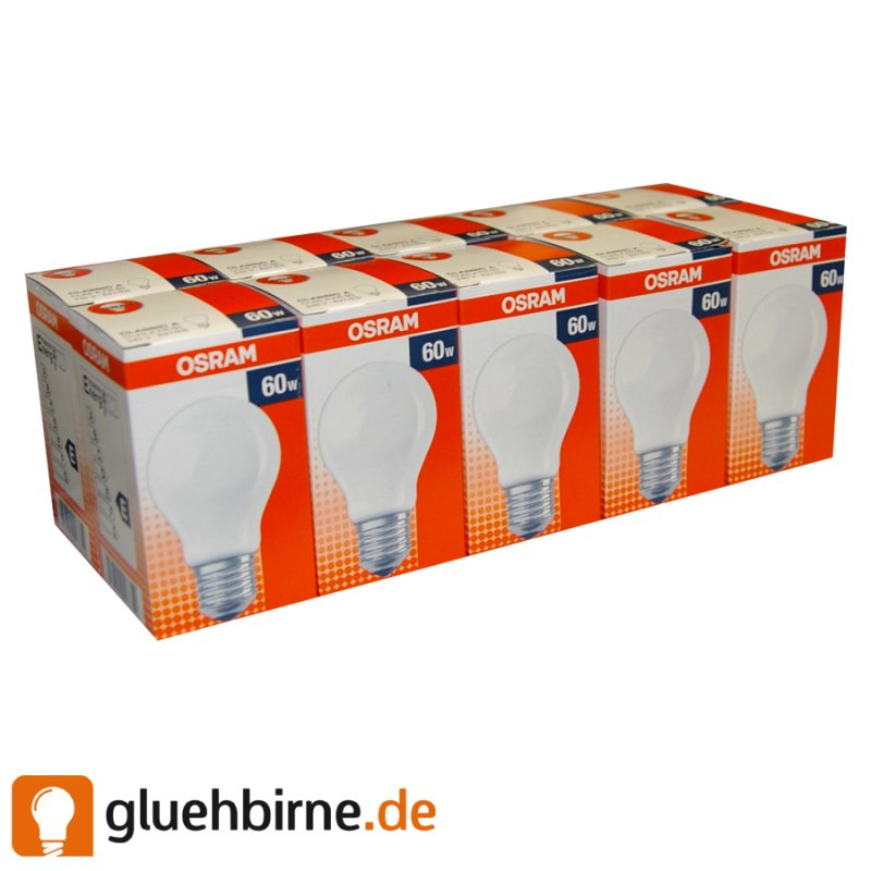10 x osram gl hbirne 60w e27 matt gl hlampe gl hbirnen. Black Bedroom Furniture Sets. Home Design Ideas