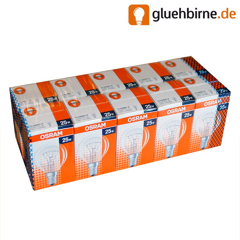 10 x osram gl hbirne tropfen 25w e14 klar gl hlampe 25 watt. Black Bedroom Furniture Sets. Home Design Ideas