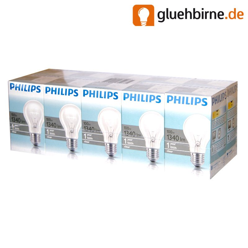10 x philips gl hbirne 100w klar e27 gl hlampe gl hbir. Black Bedroom Furniture Sets. Home Design Ideas