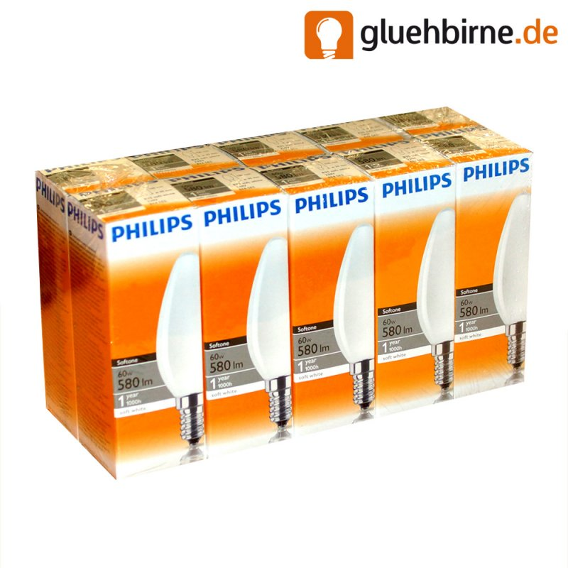 10 x philips gl hbirne kerze 60w e14 opal wei softone gl. Black Bedroom Furniture Sets. Home Design Ideas