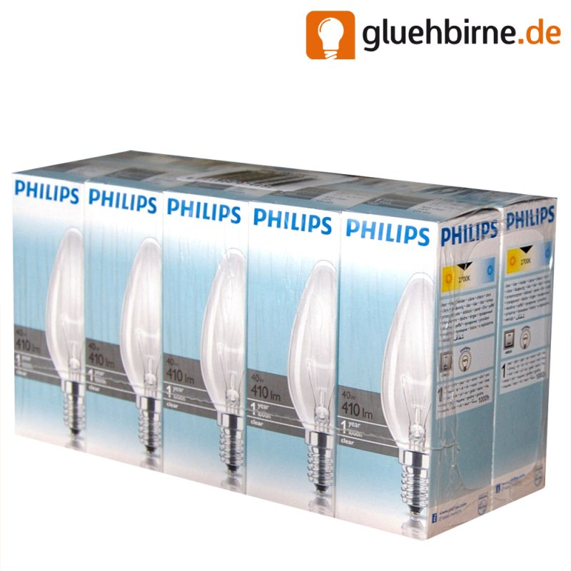 10 x philips gl hbirne kerze 40w e14 klar gl hlampe 40 watt gl hbirne. Black Bedroom Furniture Sets. Home Design Ideas