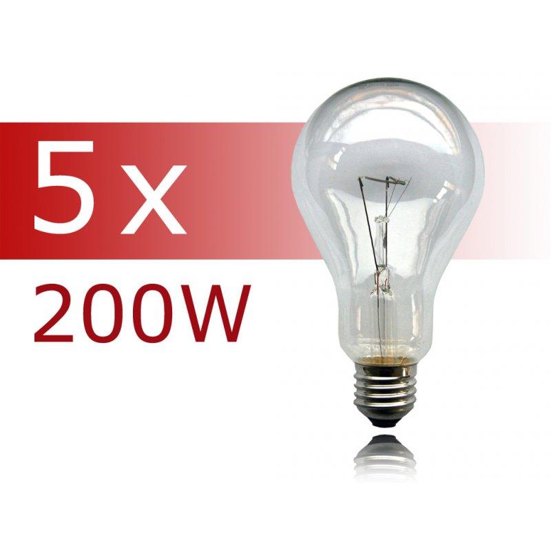 5 x gl hbirne 200w e27 klar gl hlampe 200 watt gl hbirnen gl hlampen. Black Bedroom Furniture Sets. Home Design Ideas