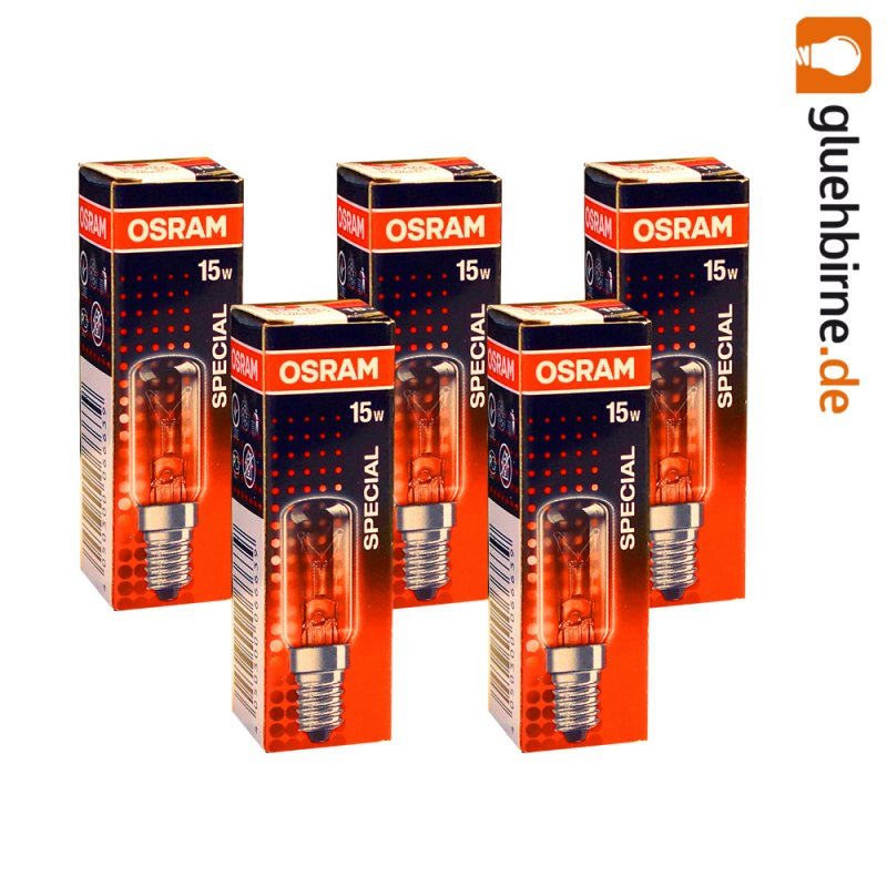 5 x osram glühbirne kühlschrank 15w e14 klar röhre special  ~ Kühlschrank Watt
