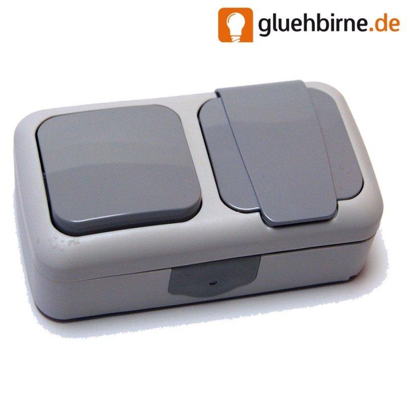 aufputz schalter programm feuchtraum ip54 ip44 ap kombi ein aus sch. Black Bedroom Furniture Sets. Home Design Ideas