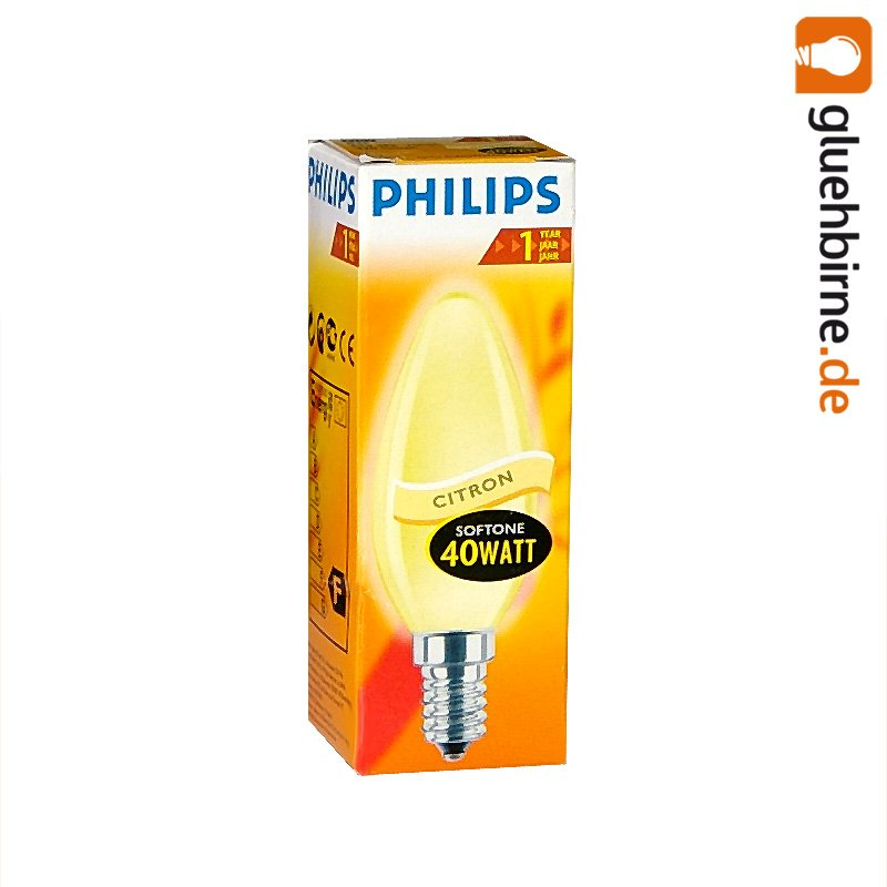 philips gl hbirne kerze softone citron 40w e14 gl hlampe. Black Bedroom Furniture Sets. Home Design Ideas
