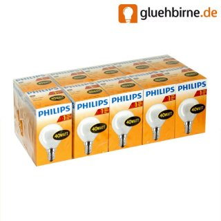 10 x philips gl hbirne tropfen 40w e14 matt gl hlampe 40 wa. Black Bedroom Furniture Sets. Home Design Ideas