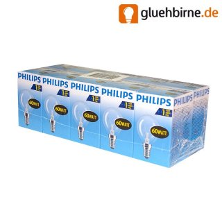 10 x philips gl hbirne tropfen 60w e14 klar gl hlampe 60 wa. Black Bedroom Furniture Sets. Home Design Ideas