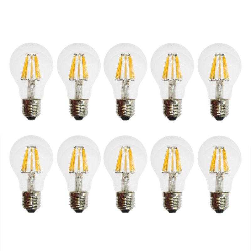 10 x LED Filament Glühbirne 6W fast wie 60W E27 Glühlampe 6