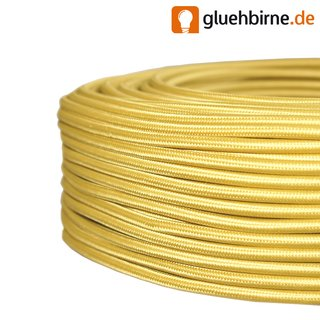 Textilkabel gold 3 Adern H03VV-F 3*0,75mm²