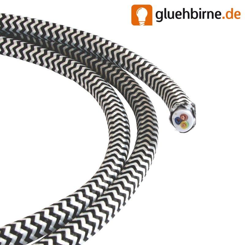 Textilkabel Bügeleisen schwarz weiß ZickZack 3 Adern H03V