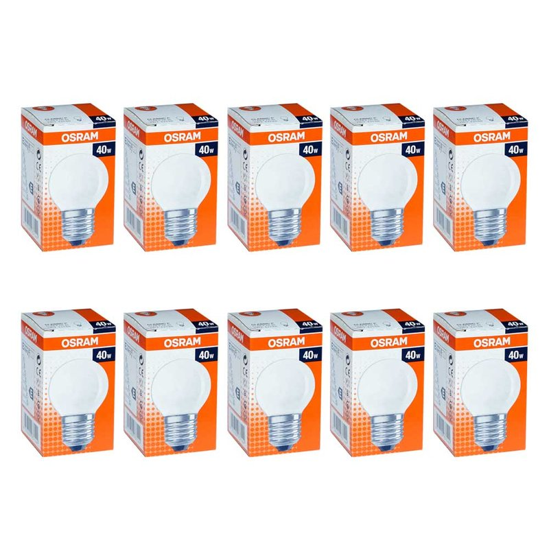 100 x osram gl hbirne tropfen 40w e27 matt gl hlampe gl uum. Black Bedroom Furniture Sets. Home Design Ideas