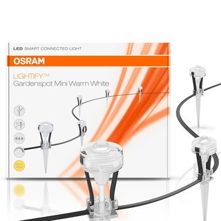 Osram Lightify LED Gartenleuchte Gartenspots Warmweiß GardenSpot Mini 9 Spots 5m dimmbar kompatibel mit Alexa