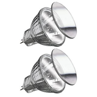 2 x Paulmann Eco Halogen Reflektor Security Halo+ 28W GU4 12V 35mm Silber 5000h flood 30°