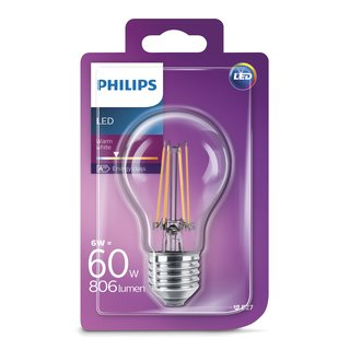 Philips LED Filament Leuchtmittel Birnenform A60 6W = 60W E27 klar 827 warmweiß 2700K