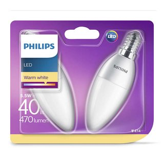 2 x Philips LED Leuchtmittel Kerze 5,5W = 40W E14 matt warmweiß 2700K