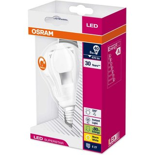 Osram LED Superstar Classic Birnenform 8W = 40W E27 470lm warmweiß 2700K dimmbar
